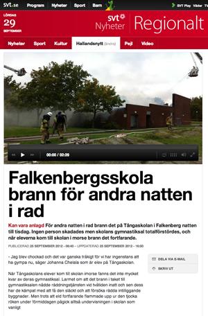 Skola brinner i Falkenberg