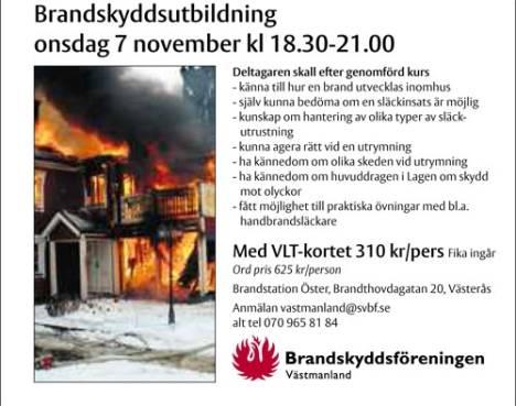 Brandskyddsföreningen arrangerar brandskyddsutbildning 7 nov 2012