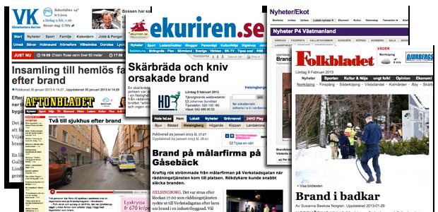 Brander i Sverige februari 2013